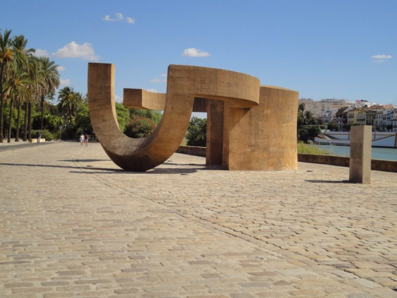 The waters edge, Seville. Monument to tolerance by the sculptor Eduardo Chillida.