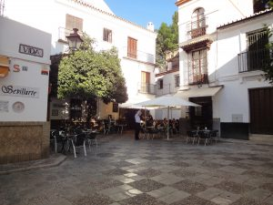 Pretty plazas and streets, old town Seville.