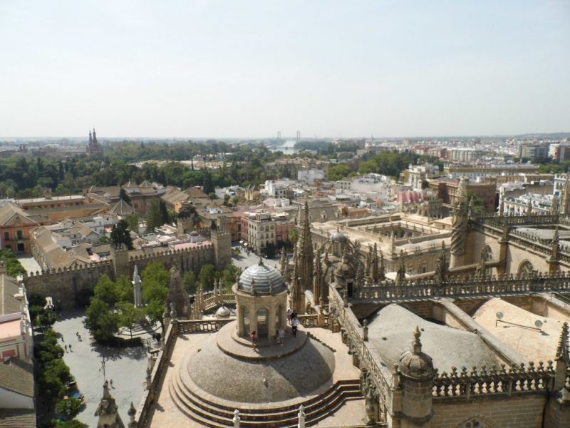 Looking out from the Giralda bell tower of Seville Cathedral.